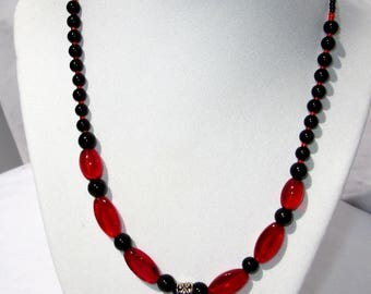 Red Bead Necklace - Red Glass Bead Necklace - Red Pendant Necklace - Red Glass Necklace - Red Necklace - Red Statement Necklace