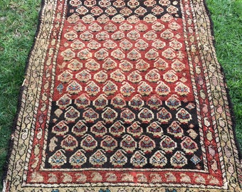 "3'11"" x 6'3"" Antique Persian Rug - 1870's"
