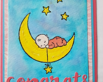 Baby Girl, New Baby, Water color card, hand made baby gifts, baby and moon