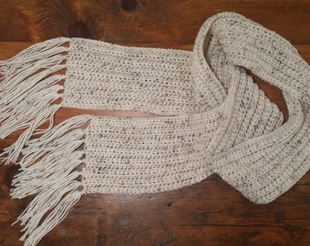 Long Scarf with Tassels// Speckled Oatmeal // Winter Scarf // Gender Neutral