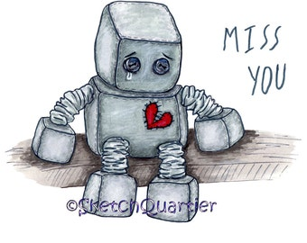 Sad Toy Robot digital clipart with transparent background for instant digital download.