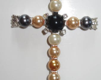 Unique cross in glass beads and cat's eye