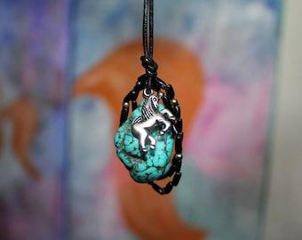Unicorn protection - turquoise necklace