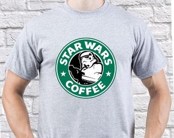 Stormtrooper tshirt/ Star Wars shirt/ Star Wars Coffee/ Starbucks Coffee/ Mens tshirt/ Men t shirt/ Star Wars Trooper/ Troper gift/ (SB09)