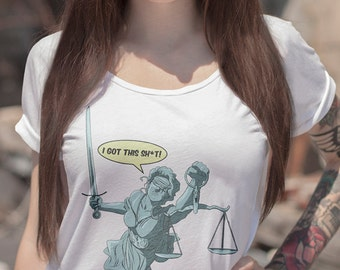 Lady Justice | LADIES FIT Federal Court Justice T-Shirt | Constitution Checks and Balances Political T-Shirt and Clothing