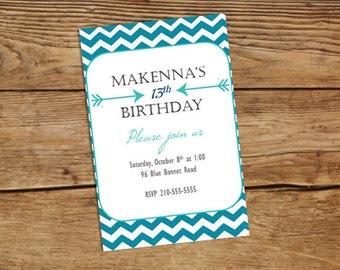 Blue Chevron and Arrows Birthday Invitation
