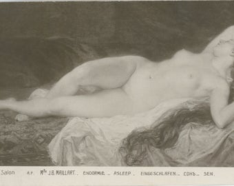 Salon Postcard | Long Haired Rapunzel | Reclining Nude | French Erotic Painting | Sleeping Beauty | 1920's | Reverie |