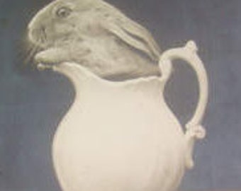 SALE Vintage RPPC of Bunny in A Glass Pitcher