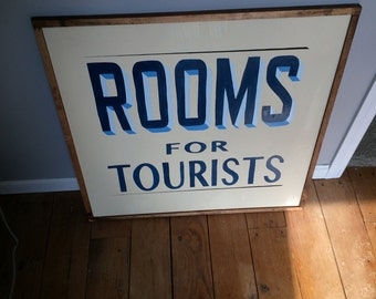 Hand painted Rooms for Tourists sign