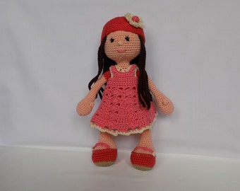 Doll in a Pink Dress Handmade Soft Toy Baby Shower Gift Hand Knitted Doll Crochet Knitted Stuffed Toy Stuffed Doll Knitted Soft Toy