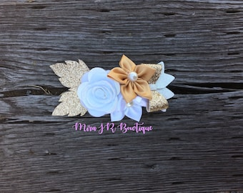 White and Gold, Pink and Purple, Blue and Green Kanzashi Bow Flower Crown, Flower Headband, Rose headband, Custom Flower Headpiece