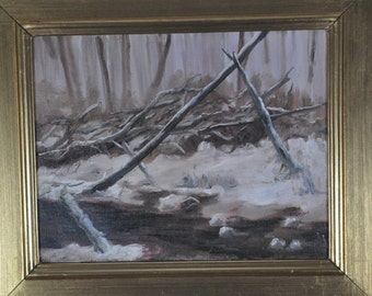Feeder Creek Into the Potomac, 11x14, oil on canvasm, Framed 18x21