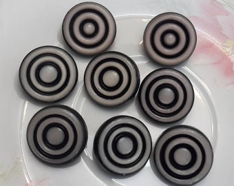Vintage black white plastic buttons 8 pc, craft sewing buttons