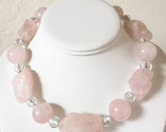 Rose Quartz 20mm Round Bead and Rough Nugget Necklace with Sterling Silver Hook and Eye Clasp