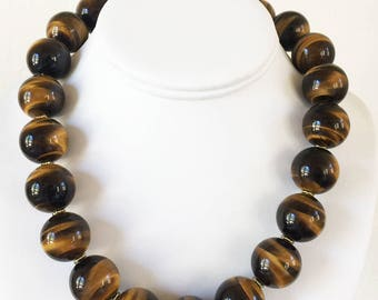 Tiger Eye AAA 20mm Necklace with 24K Gold Vermeil Hook and Eye Clasp