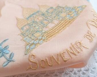 French Vintage Embroidered 1940's Pink Paris Souvenir Handkerchief Sacre Coeur Church