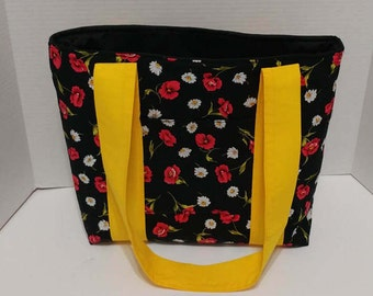 black and red floral print tote bag, travel bag, laptop bag, school bag, beach tote, knitting tote, quilted tote bag, book bag