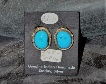 Tuquoise and Sterling Clip Earrings