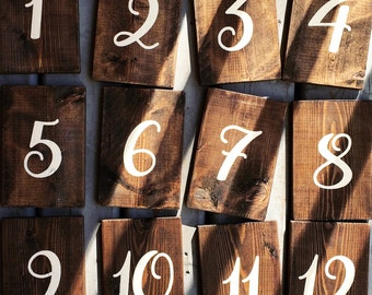 Rustic Wood Table Numbers | White on Wood