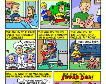 CUSTOM Super Dad Comic Page - Made To Order - Father's Day Gift Idea