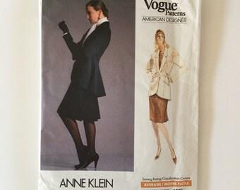 1980's Vogue American Designer Misses Swallow Tail Suit Jacket & Skirt Sewing Pattern Anne Klein 14 16 18 Uncut