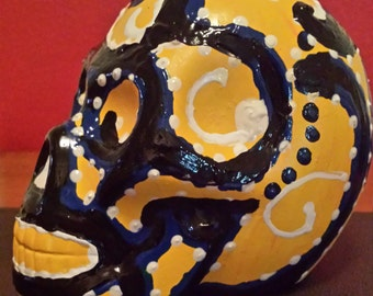 Mexican folk art hand painted skull