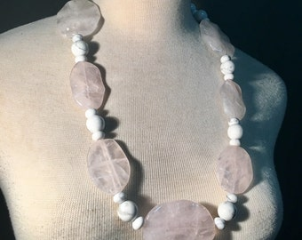 Rose quartz with white howlite crystals rope length chunky necklace