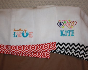 Personalized Embroidered Burp Cloths