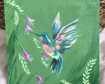 Hummingbird Painting on Wood