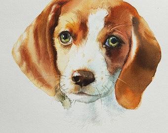 Dog portrait.Beagle puppy.Custom pet portrait