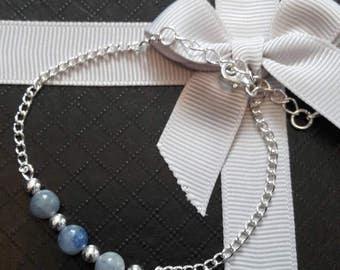 Blue Aventurine Sterling Silver gemstone Chain Bracelet