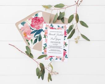 Printable Pink Floral Watercolor Wedding Invitation Template, Printable Wedding Invitation Suite, Wedding Invite Set, Wedding,Rustic Wedding