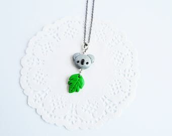 Koala, koala pendant necklace kawaii kawaii necklace, necklace, polymer clay, koala koala with leaf, animal necklace, necklace and earrings