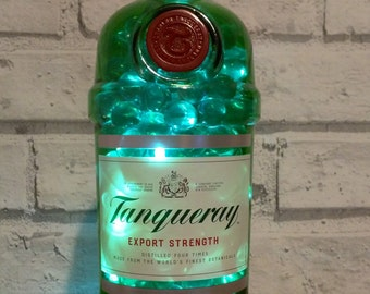 Upcycled Tanqueray gin bottle, LED lights with glass balls