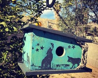 Handmade, Wooden Bird Cabin Decorated with Desert Coyote Block Prints