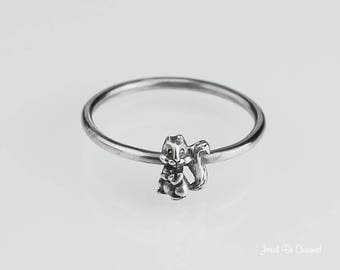 Sterling Silver Squirrel Ring Solid .925 Little Squirrels Custom Sizes