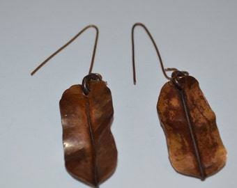 A Pair of hand made Copper Autumn Leaf design Earrings