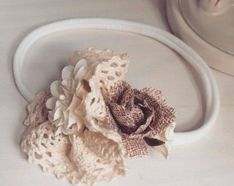 Crochet flower beige baby headband
