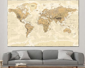 Large detailed  world map wall art with countries names canvas print,Extra large world map, home decor world map canvas print ready to hang