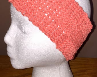 Coral knit ear warmer
