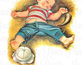Little Boy Blue Nursery Printable Download-Nursery Decor-Decoupage-Collage-Scrapbook-Vintage Mother Goose-Nursery Rhyme Illustration