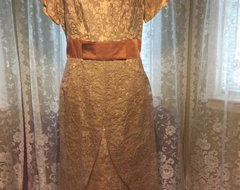Vintage Tan Lace A Line Dress