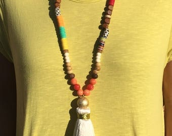 White Silk Bohemian Tassel Necklace
