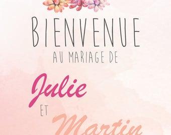 Affiche de Mariage - Bienvenue - Cactus - Personnalisable