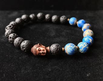 Bronze Buddha Lava Rock Blue Sea Stone Wisdom Courage Bracelet Health Yoga Zen Positivity Healing