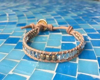 Gold Crystal Natural Beaded Leather Wrap Bracelet // Chan Luu Style Bracelet // Crystal Bracelet // Stackable bracelet