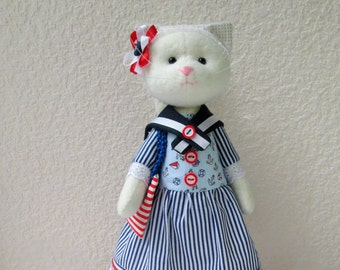 Cat Handmade Doll, Cat doll ,Cat-stuffed toy, cloth doll, Doll Fabric cat, Cat in a dress, decorative toy,girl gift,cat lover gift,sea style
