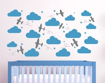 Baby Nursery Decal Etsy - Nursery wall decals clouds