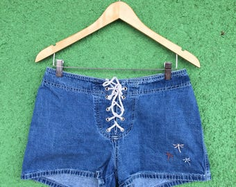 Lace Up Embroidered Denim Hot Pants