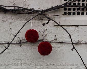 Vin Rouge Pom Pom Earrings